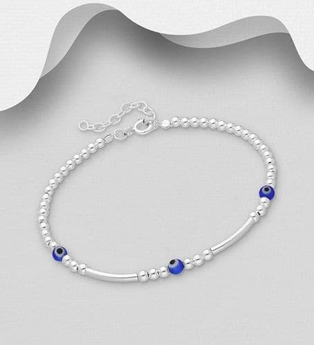 925 Sterling Silver Ball Bracelet Set With Blue Beads